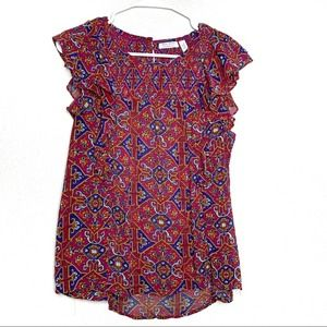 Meadow Rue Anthro sz 4 abstract blouse
